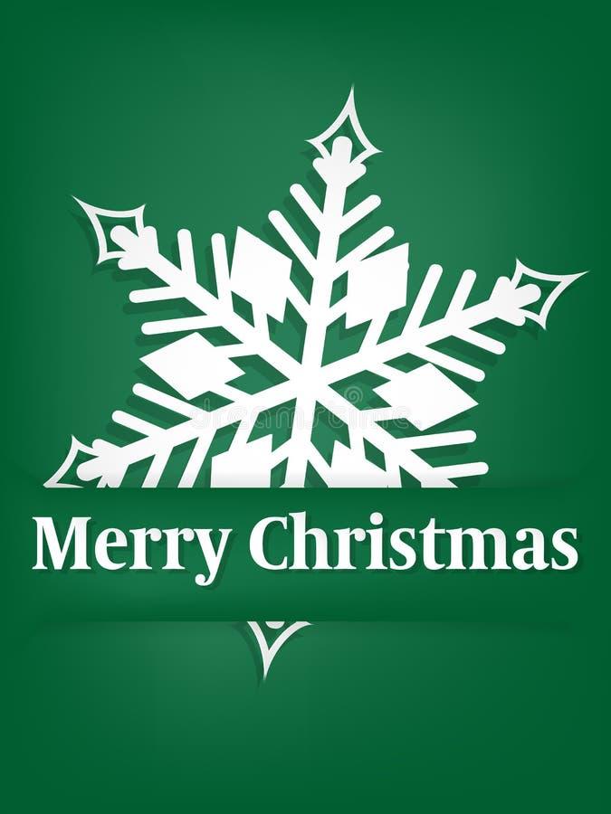 Het seizoenachtergrond van de Kerstmisvakantie met Document kunstgravure van sneeuwvlok in het kader van Vrolijke Kerstmisteksten stock illustratie