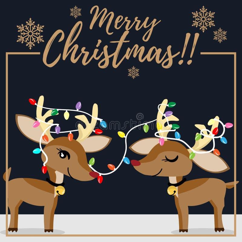 Het seizoenachtergrond van de Kerstmisvakantie met Kerstmisbeeldverhaal van leuk rendier met kleurrijke Kerstmis gloeilampen en s stock illustratie