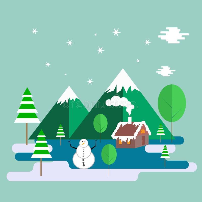 Het seizoenlandschap van de winterchrismas vector illustratie