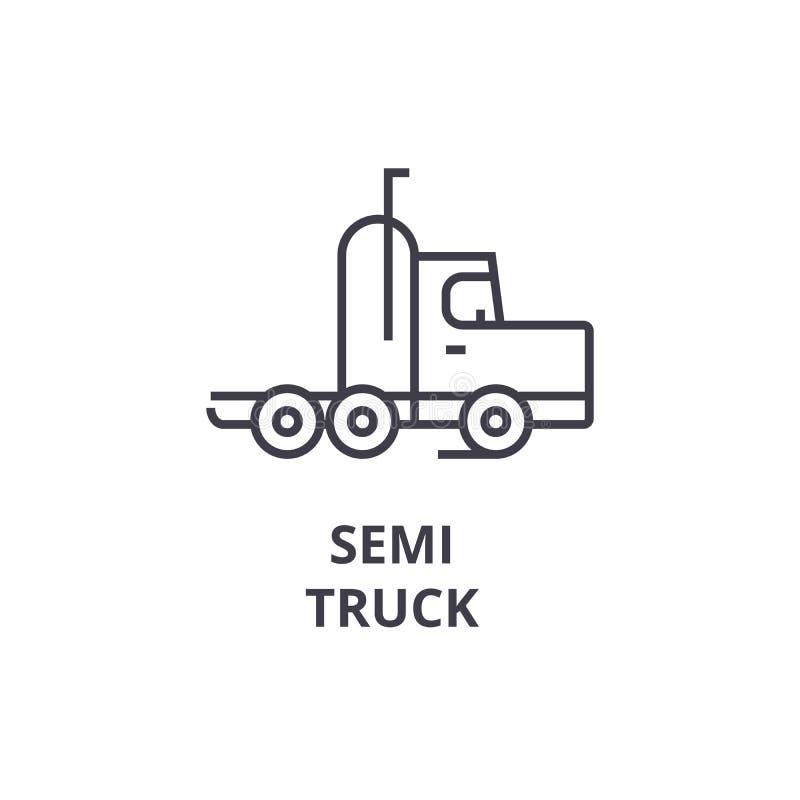 Het semi pictogram van de vrachtwagen vectorlijn, teken, illustratie op achtergrond, editable slagen royalty-vrije illustratie