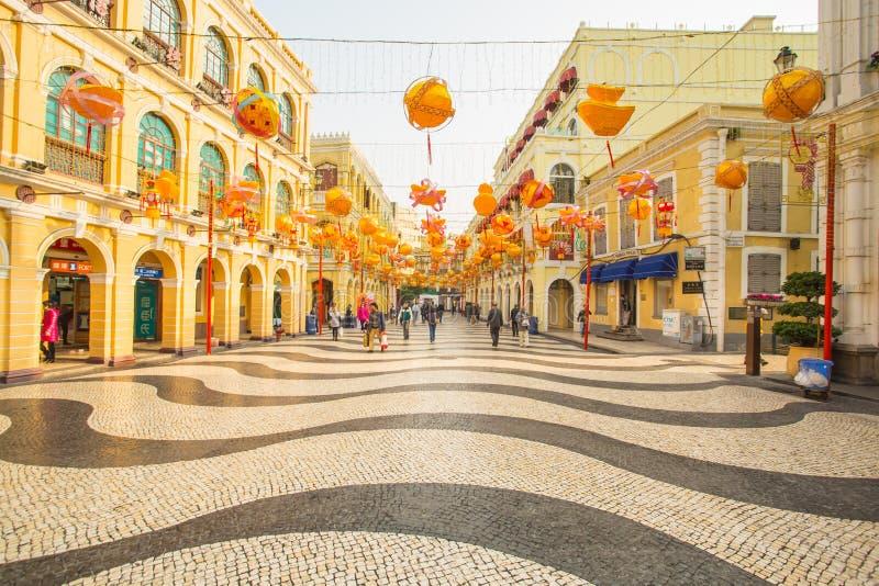 Het Senado-Vierkant in Macao, China stock foto's
