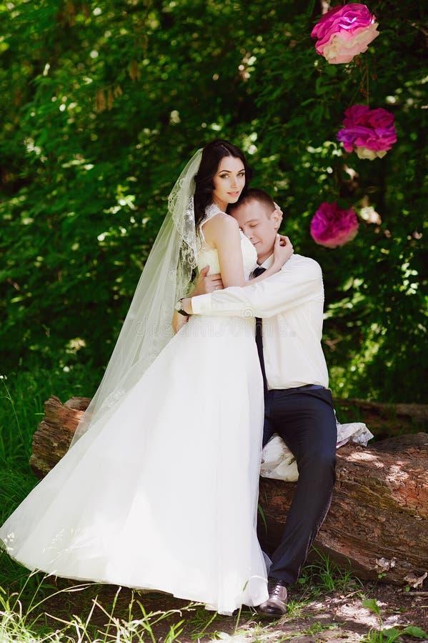 Het sensuele portret van de bruid en de bruidegom omhelzen, liefde, familie, huwelijk, verhoudingen, levensstijl stock afbeeldingen