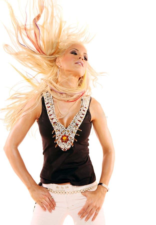 Het sexy blonde vrouw dansen royalty-vrije stock afbeelding