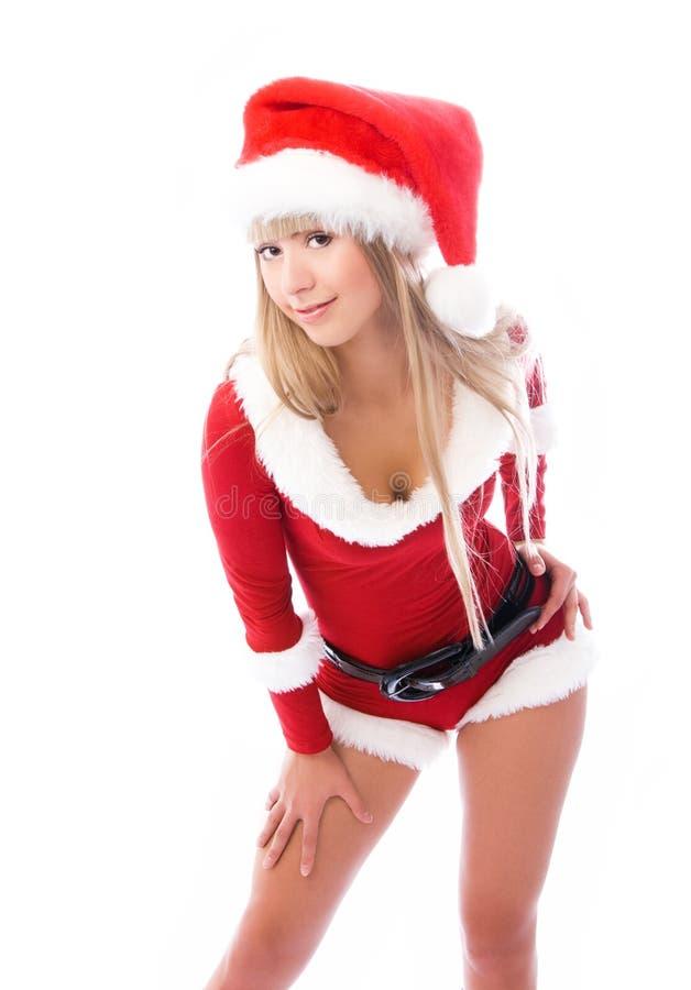 Het sexy meisje kleedde zich als Kerstman royalty-vrije stock fotografie