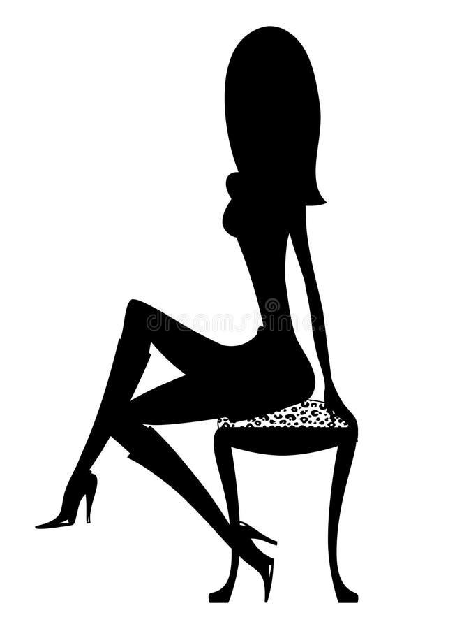 Het sexy Meisje van het Silhouet in Laarzen royalty-vrije illustratie