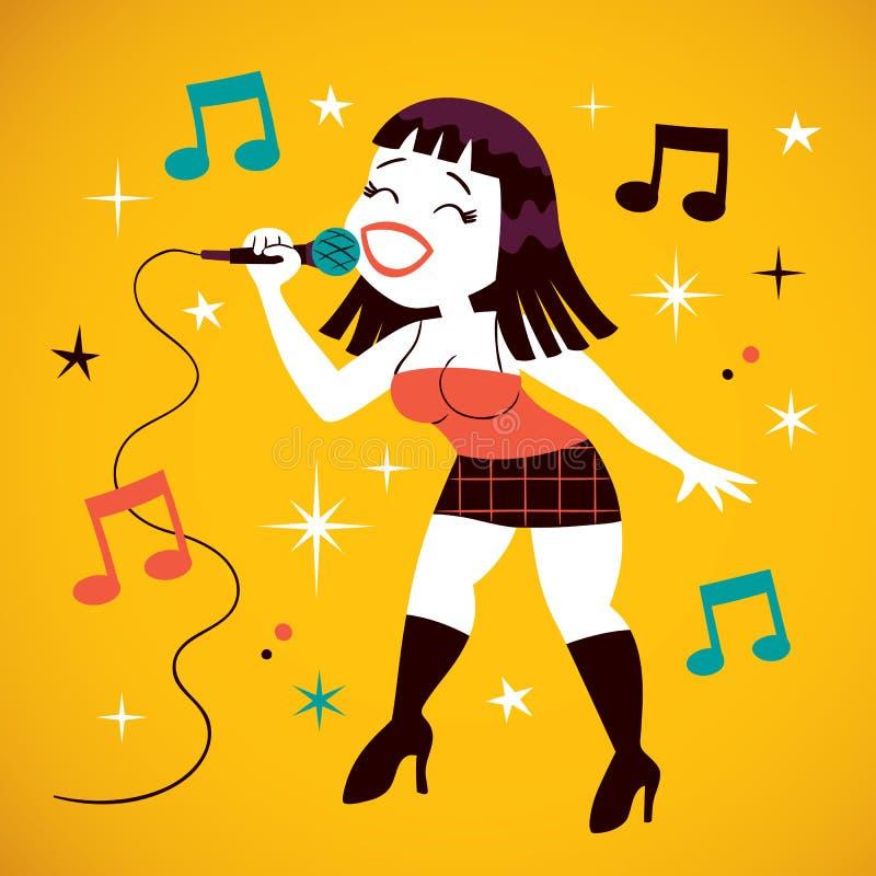 Het sexy meisje zingen vector illustratie