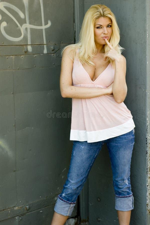Het sexy Model van de Blonde stock foto's
