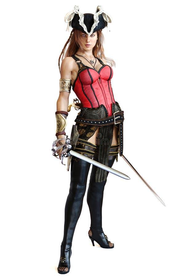 Het sexy Piraat vrouwelijke stellen met dubbele machetezwaarden royalty-vrije illustratie