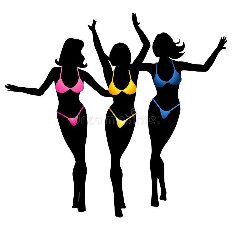Het sexy Silhouet van de Meisjes van de Bikini stock illustratie
