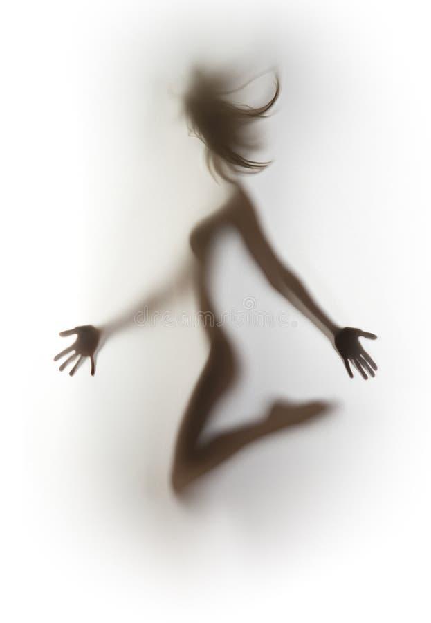 Het sexy, slanke het springen silhouet van het vrouwenlichaam, haar royalty-vrije stock foto's