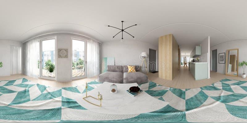 Het sferische 360 de stijl binnenlandse ontwerp van de panoramaprojectie Skandinavische 3D teruggeven royalty-vrije stock afbeeldingen