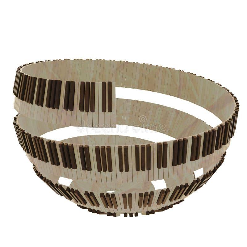 Het sferische gestalte gegeven ontwerp van het pianotoetsenbord stock illustratie