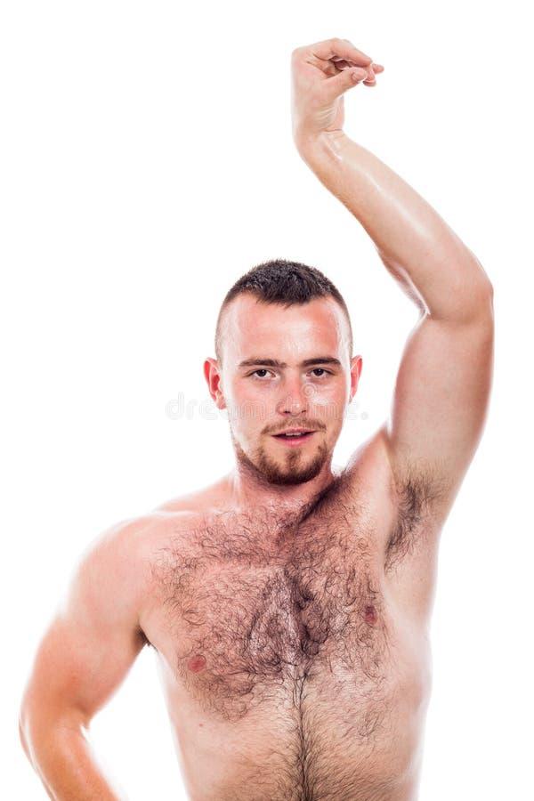 Het Shirtless harige mens stellen stock foto's