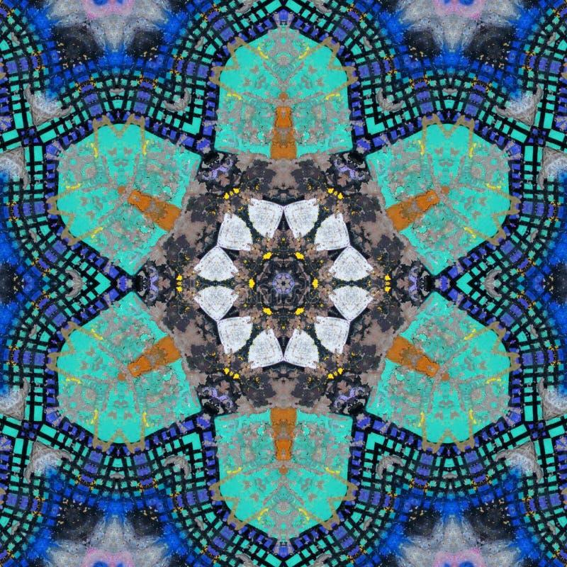 Het sier blauwe en groene grote naadloze patroon van het bloemmozaïek vector illustratie