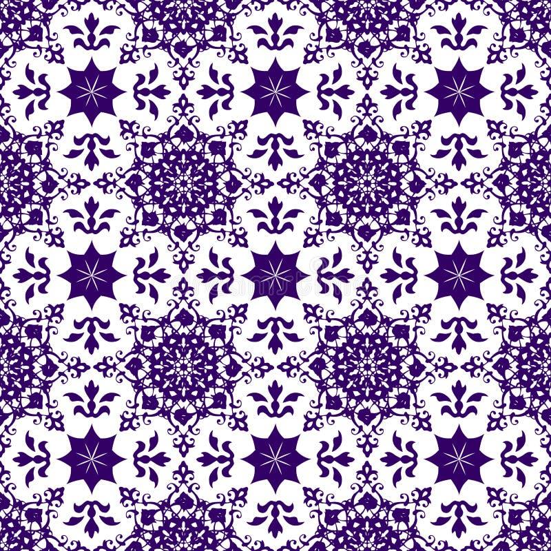 Het sier Oosterse Abstracte Bloemen Naadloze Uitstekende Arabische Chinese Transparante Blauwe Behang van de Patroontextuur royalty-vrije illustratie
