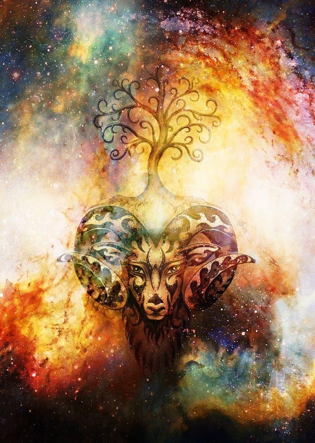 Het sier schilderen van Ram, heilige dierlijke symbool en boom van het leven in kosmische ruimte stock foto's