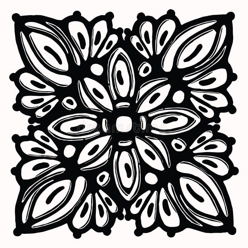 Het sier volkselement van het kunst grafische ontwerp Hand getrokken linocut blokafdrukstijl Zwarte folkloristische illustratiete royalty-vrije illustratie
