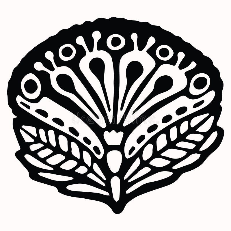Het sier volkselement van het kunst grafische ontwerp Hand getrokken linocut blokafdrukstijl Het zwarte folkloristische pictogram royalty-vrije illustratie