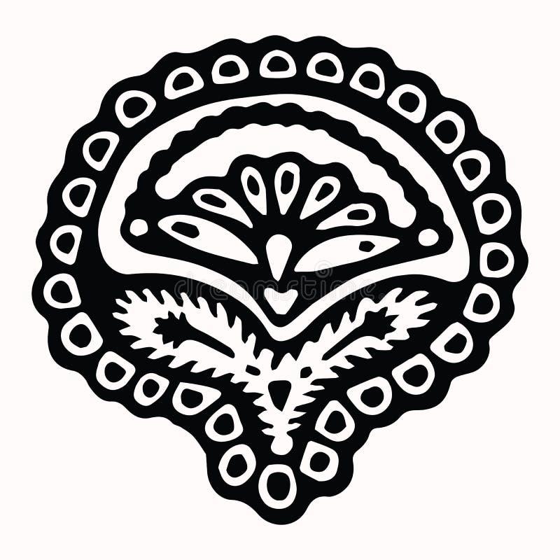 Het sier volkselement van het kunst grafische ontwerp Hand getrokken linocut blokafdrukstijl Het zwarte folkloristische pictogram vector illustratie