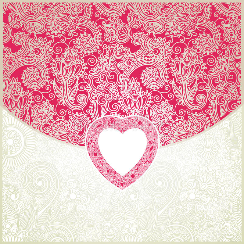 Het sierpatroon van de valentijnskaart royalty-vrije illustratie