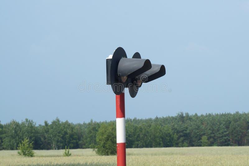 Het signaal van de spoorwegseinpaal royalty-vrije stock afbeeldingen
