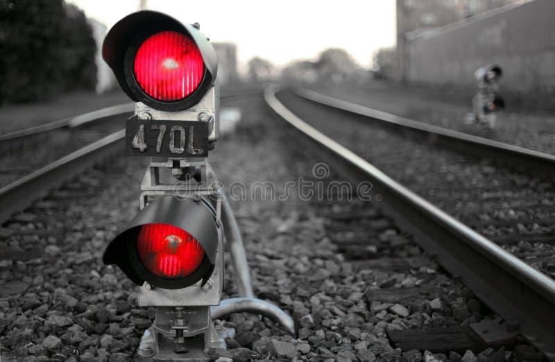 Het signaal van de trein stock foto