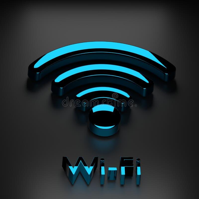 Het signaal vlak pictogram van Wifi draadloos Internet stock illustratie