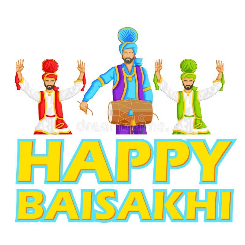 Het sikh doen Bhangra, volksdans van Punjab, India stock illustratie