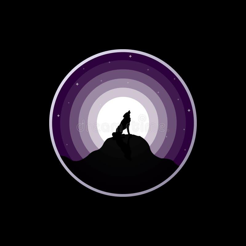 Het silhouet dat van de wolf aan de volle maan huilt royalty-vrije illustratie