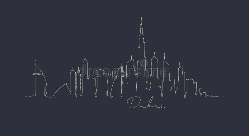 Het silhouet donkerblauw Doubai van de penlijn royalty-vrije illustratie