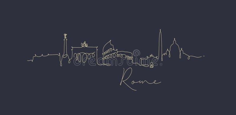 Het silhouet donkerblauw Rome van de penlijn stock illustratie