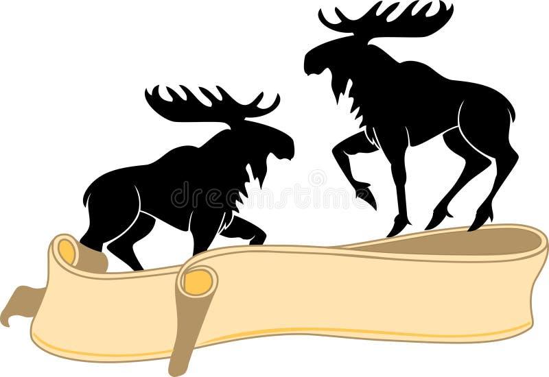 Het silhouet en het lint van elanden. stock illustratie