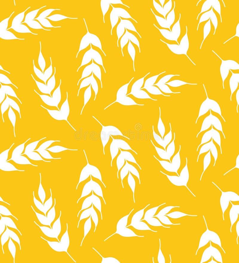 Het silhouet geel van het roggegraan bloemen eenvoudig naadloos vectorpatroon als achtergrond vector illustratie
