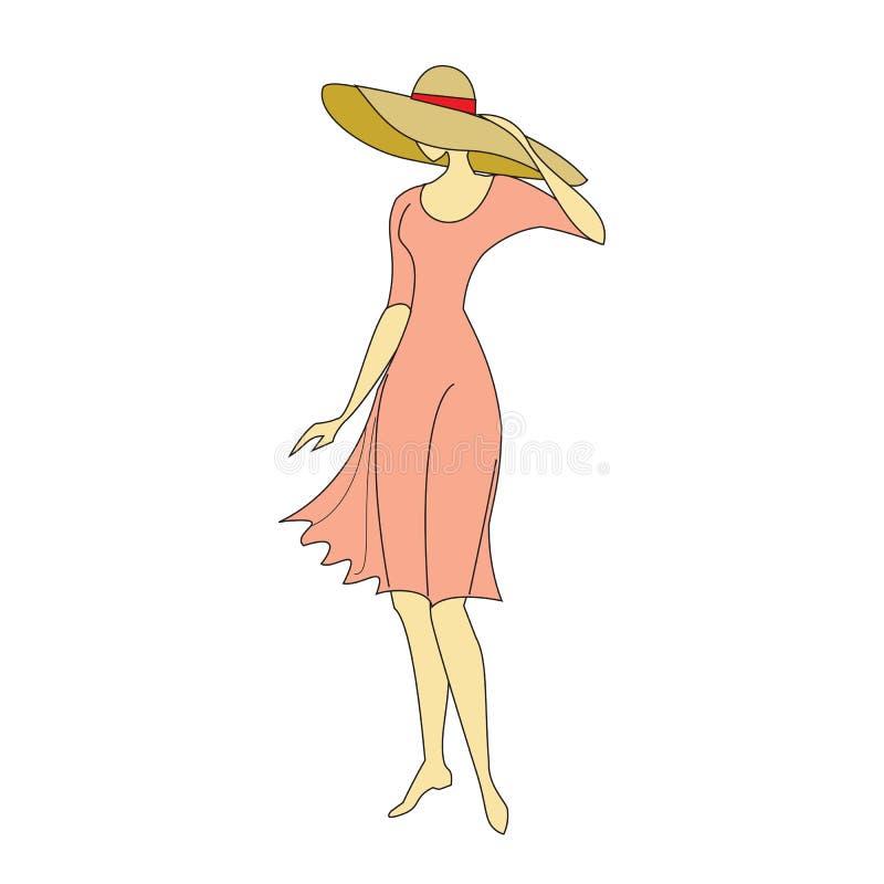 Het silhouet mooie meisje in een hoed Vectorillustratiekleur royalty-vrije illustratie