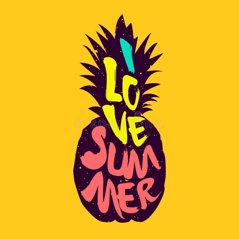 Het silhouet van ananas en gekleurde teksten I de Liefdezomer Vector royalty-vrije illustratie