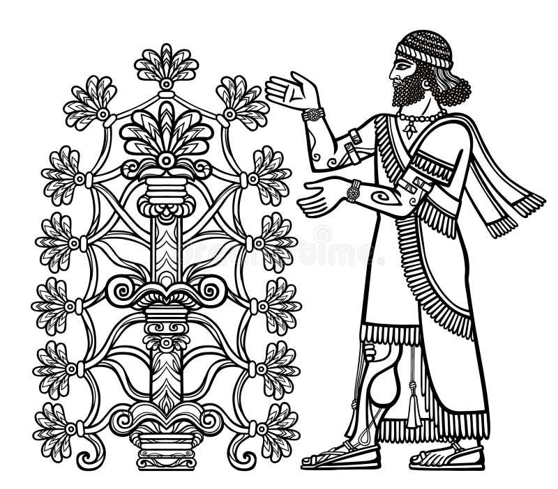 Het silhouet van Assyrian-deity verzamelt vruchten van een fantastische boom royalty-vrije illustratie