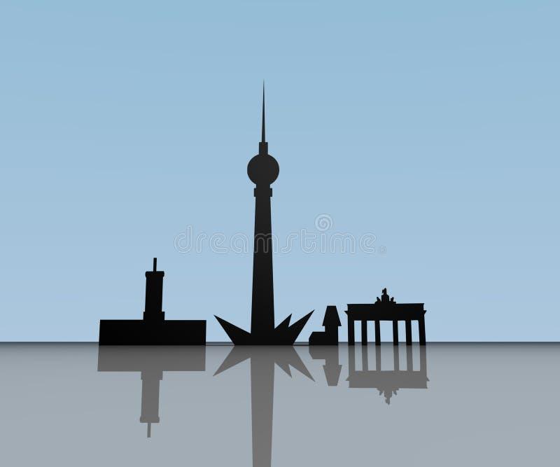 Het silhouet van Berlijn stock illustratie