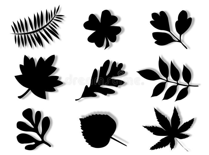 Het silhouet van bladeren stock illustratie