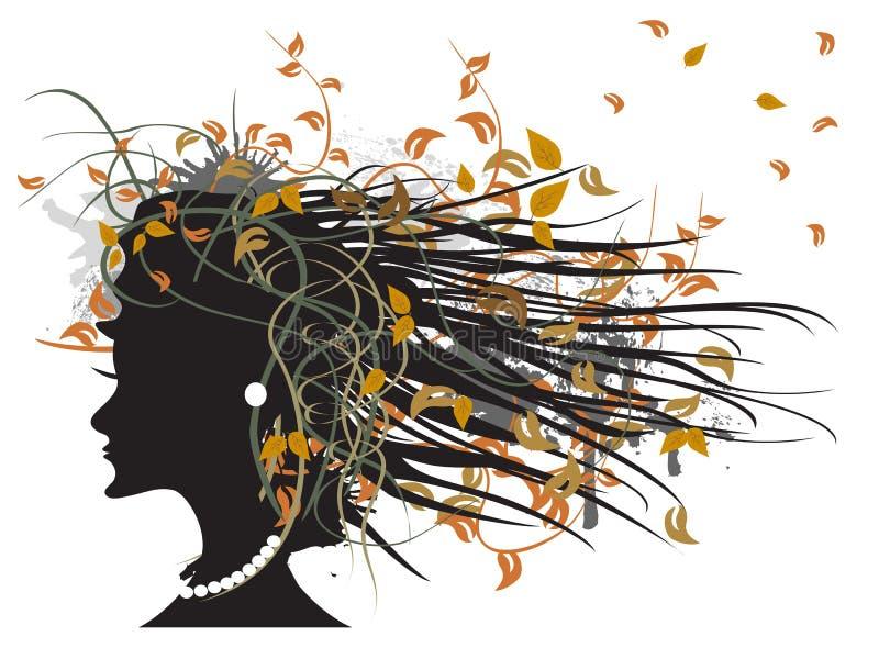 Het silhouet van bloemen de herfstmeisje royalty-vrije illustratie