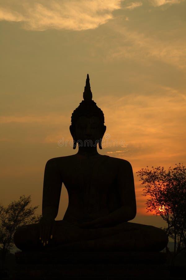 Het Silhouet van Boedha stock afbeelding