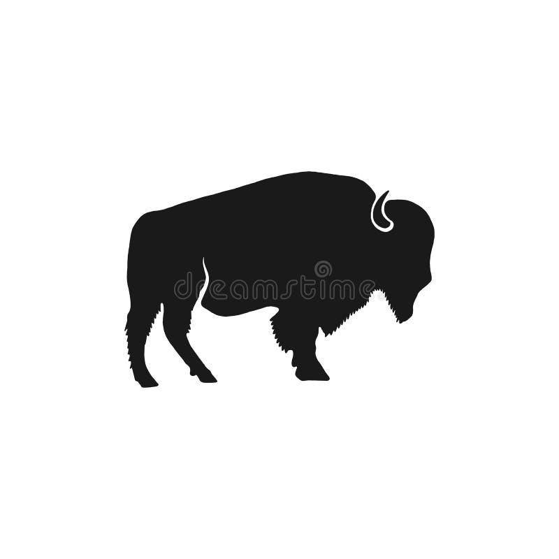 Het silhouet van het buffelspictogram Retro letterzetseleffect Geïsoleerde pictogram van het bizon het zwarte symbool Gebruik voo royalty-vrije illustratie