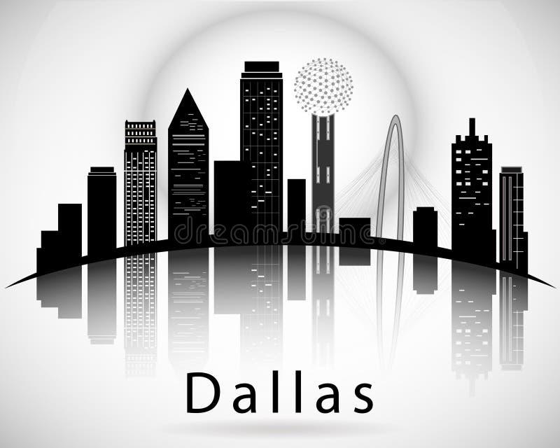 Het silhouet van Dallas, Texas United States van Amerika royalty-vrije illustratie