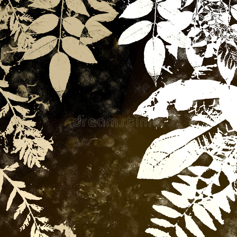 Het Silhouet van de Bladeren van de Herfst van Grunge stock illustratie