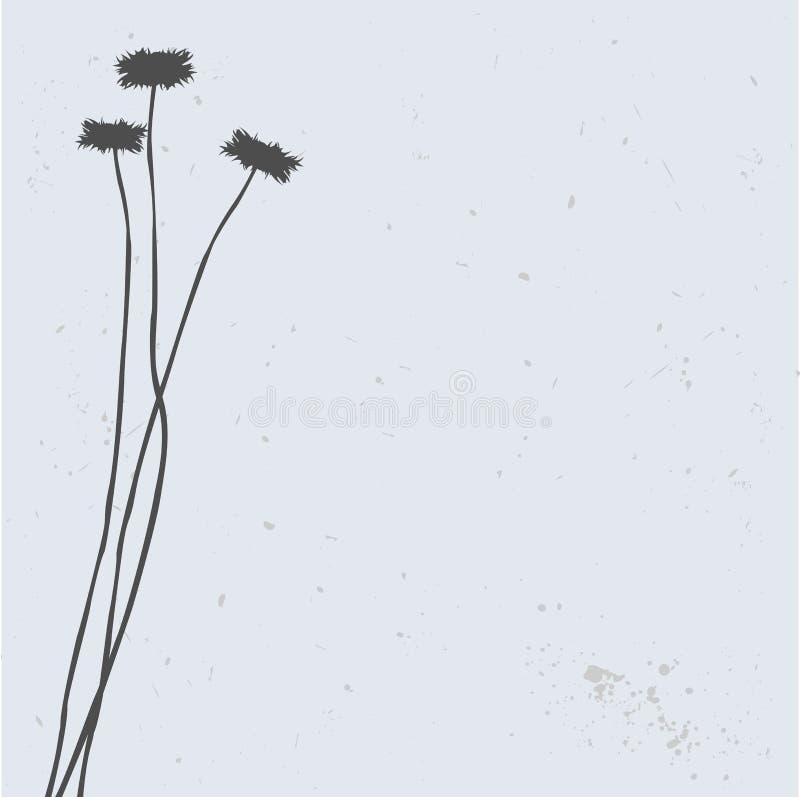 Het silhouet van de bloem, vectorillustratie stock illustratie