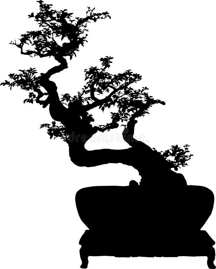 Het silhouet van de bonsai royalty-vrije illustratie