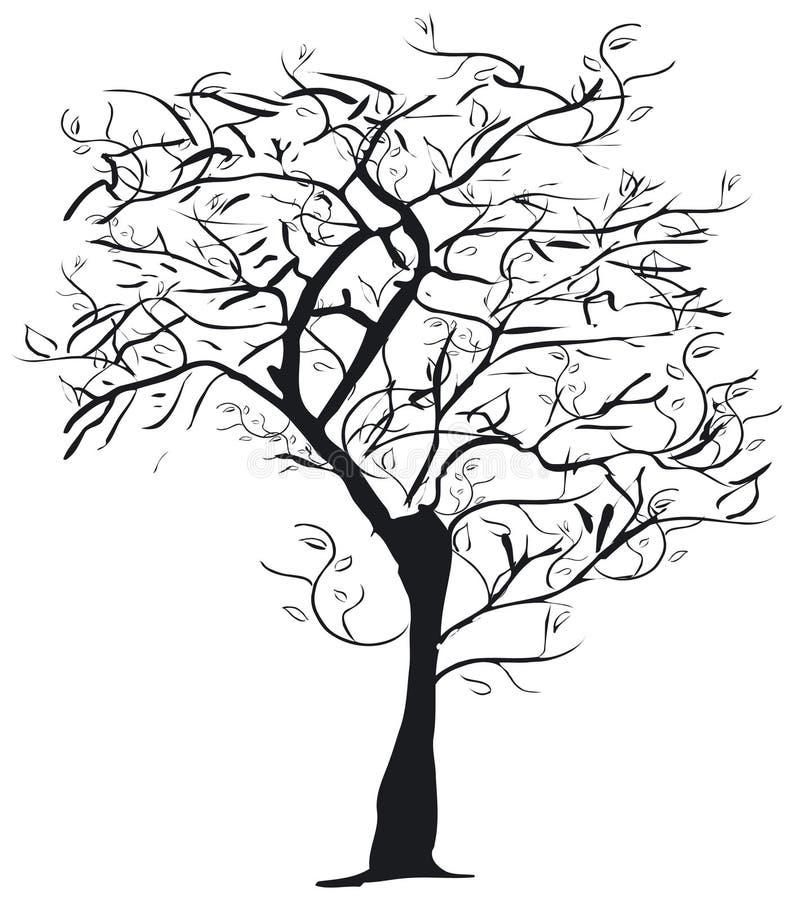 Het silhouet van de boom royalty-vrije illustratie
