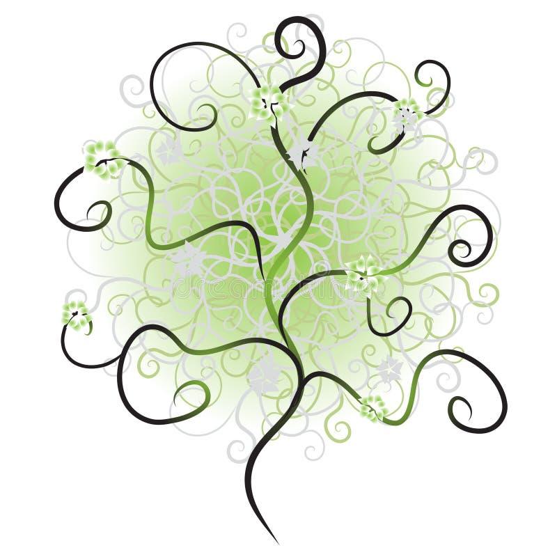 Het silhouet van de boom, vertakt zich groen stock illustratie