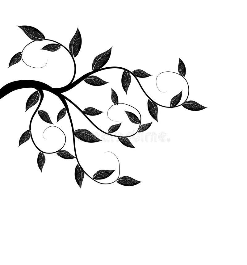 het silhouet van de boomtak stock illustratie