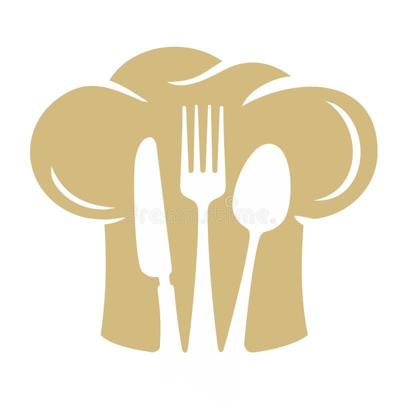 Het silhouet van de chef-kokhoed met vorkmes, lepel royalty-vrije illustratie