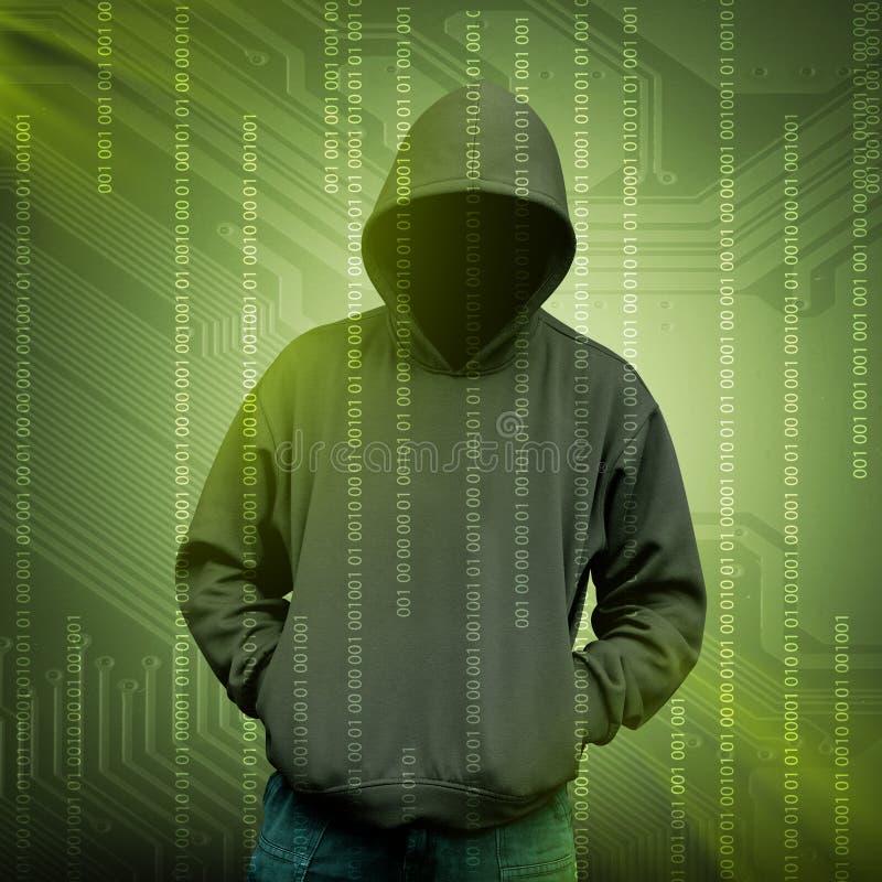 Het silhouet van de computerhakker van de mens met een kap royalty-vrije stock afbeelding
